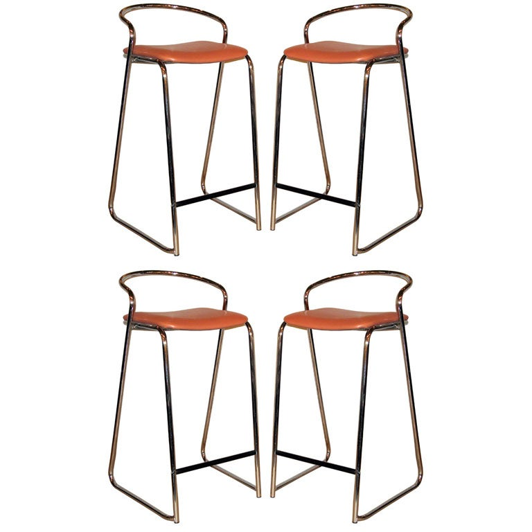 Set of 4 Bar Stools in Polished Chrome by Loewenstein at  : lowenstein60setof4chromelowbackbarstools9hires from 1stdibs.com size 768 x 768 jpeg 49kB