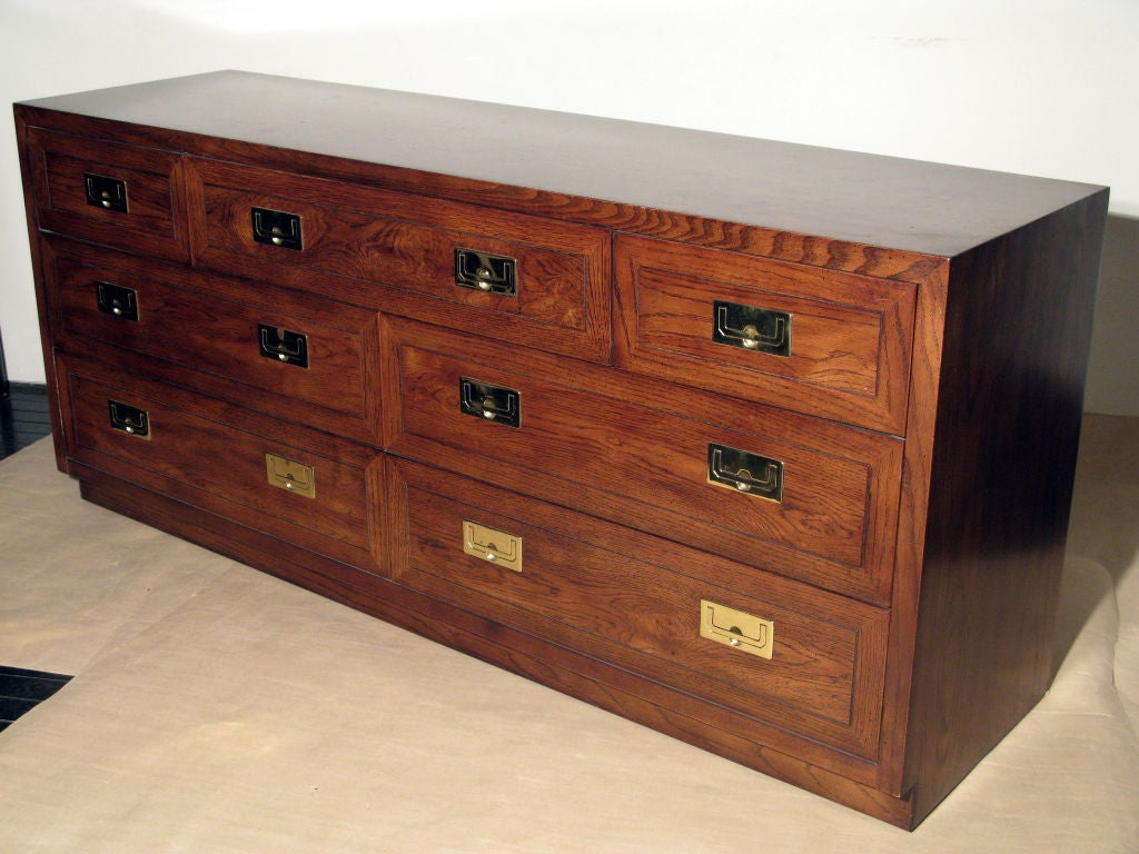 Campaign Style Chest in Oak with Brass Pulls by Henredon 2