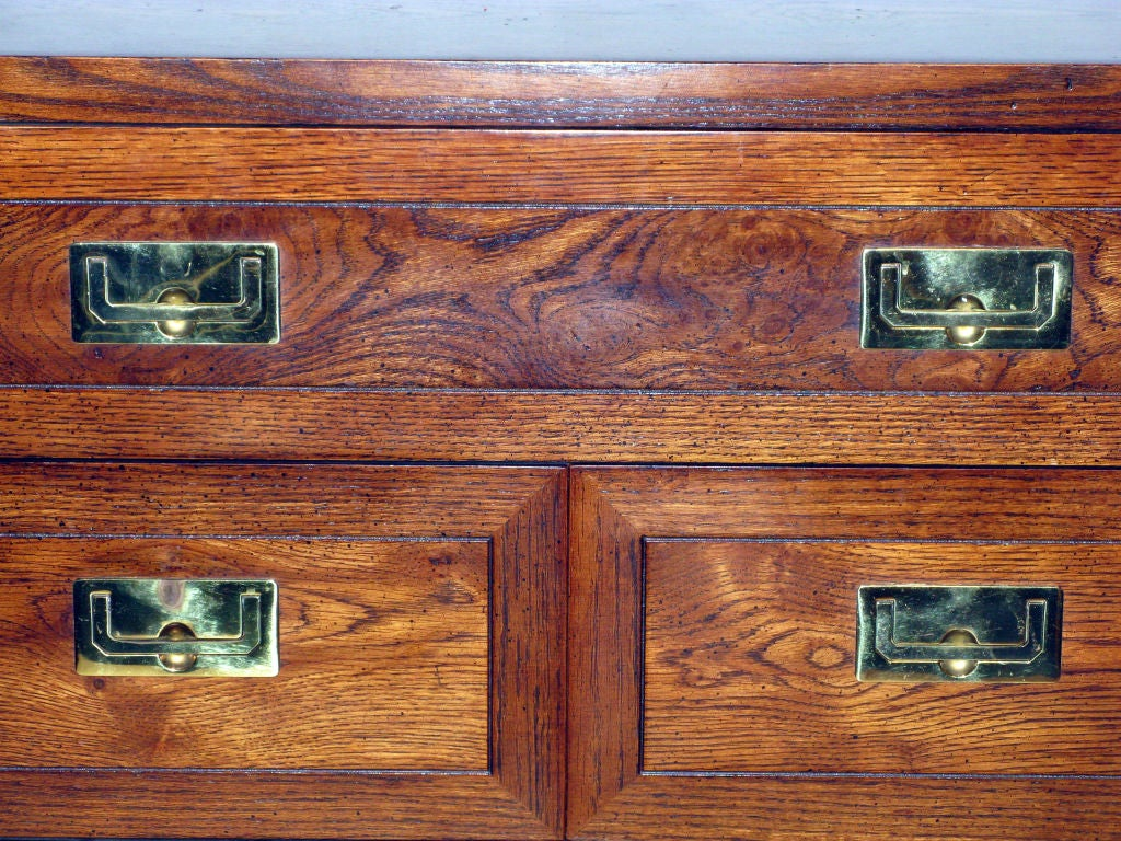 American Campaign Style Chest in Oak with Brass Pulls by Henredon For Sale