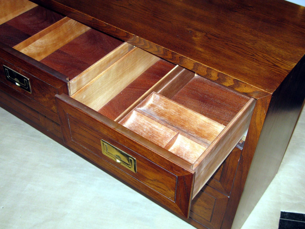 Campaign Style Chest in Oak with Brass Pulls by Henredon For Sale 1