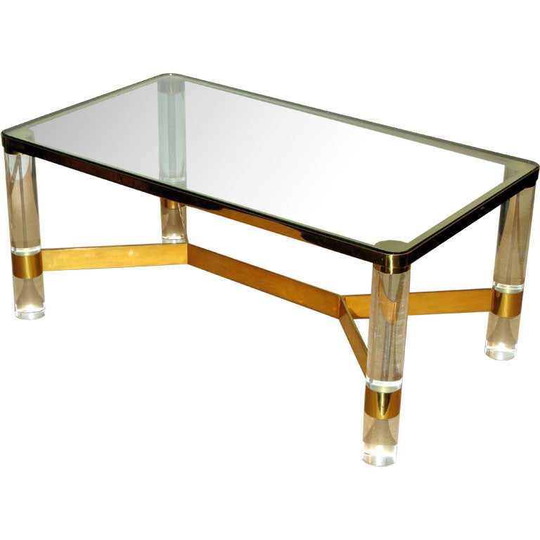 Round Leg Lucite Coffee Table Designed By Karl Springer At 1stdibs
