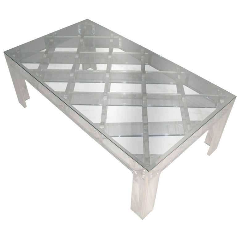 Coffee Table In Lucite With Lattice Top By Charles Hollis Jones At 1stdibs