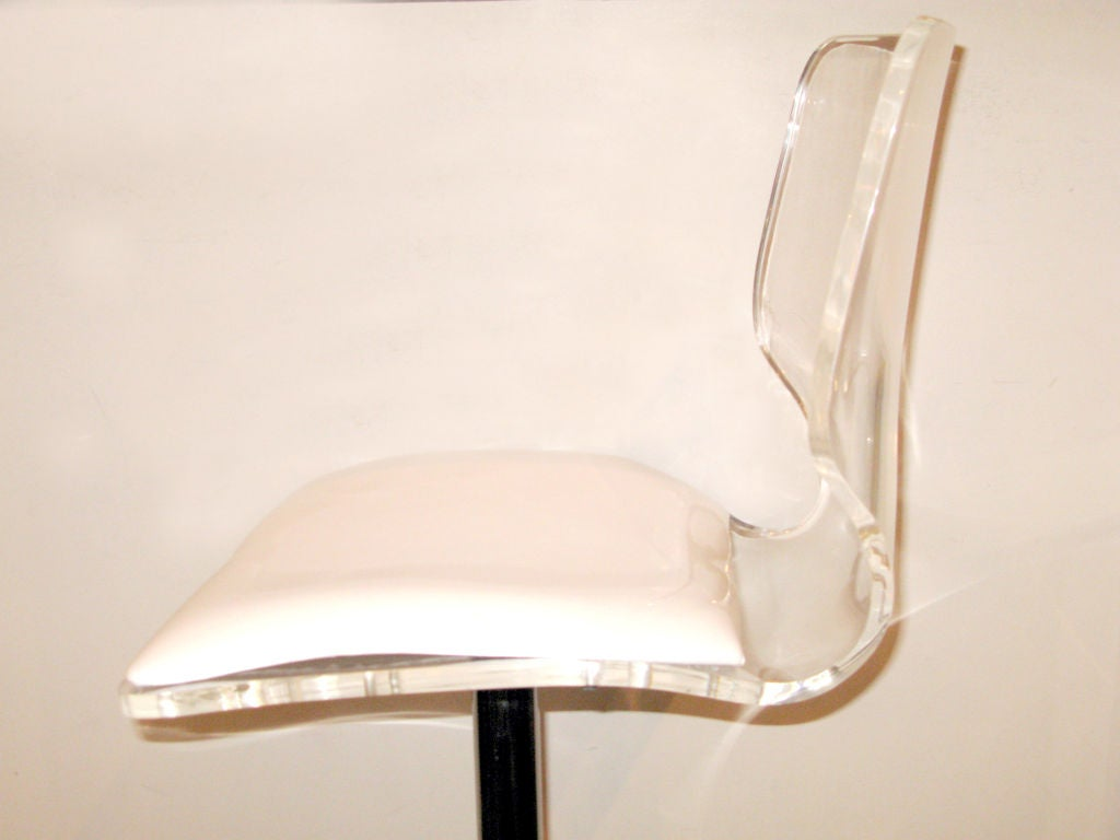 Set Of 4 Bar Stools With Molded Lucite Seats And Backs At