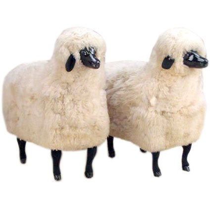 Pair of Sheep Sculptures in the manner of Claude Lalanne 1