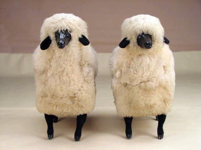Pair of Sheep Sculptures in the manner of Claude Lalanne image 2