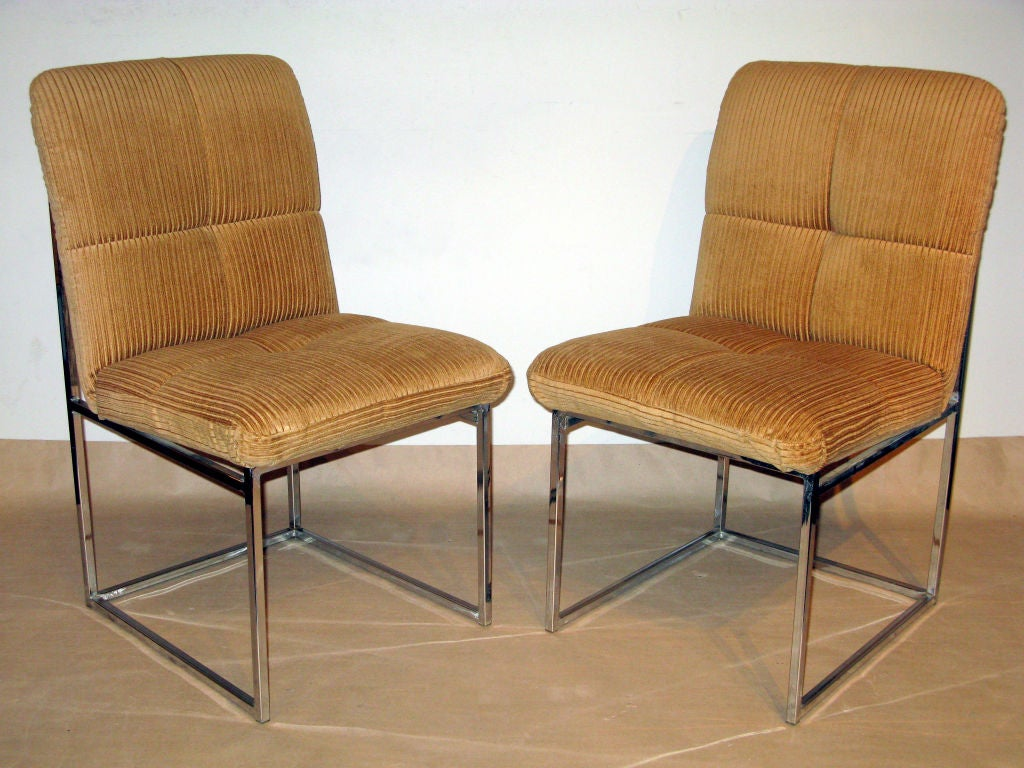 Set Of 6 Dining Chairs With Chrome Frames By Milo Baughman