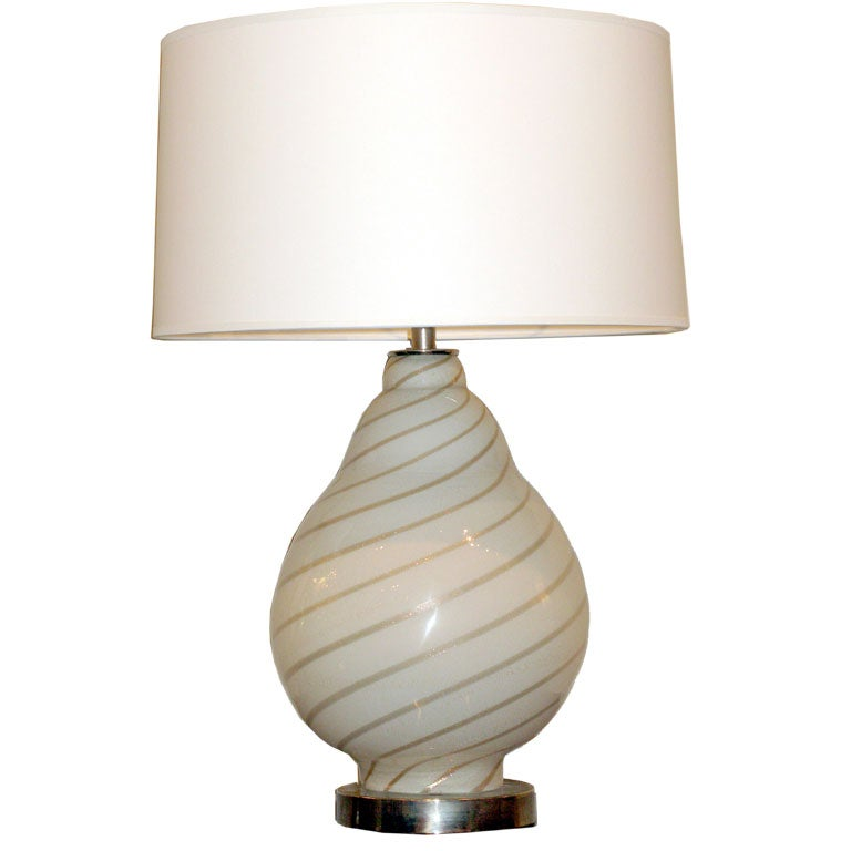 this hand blown glass table lamp with sprialing avventurine is no. Black Bedroom Furniture Sets. Home Design Ideas