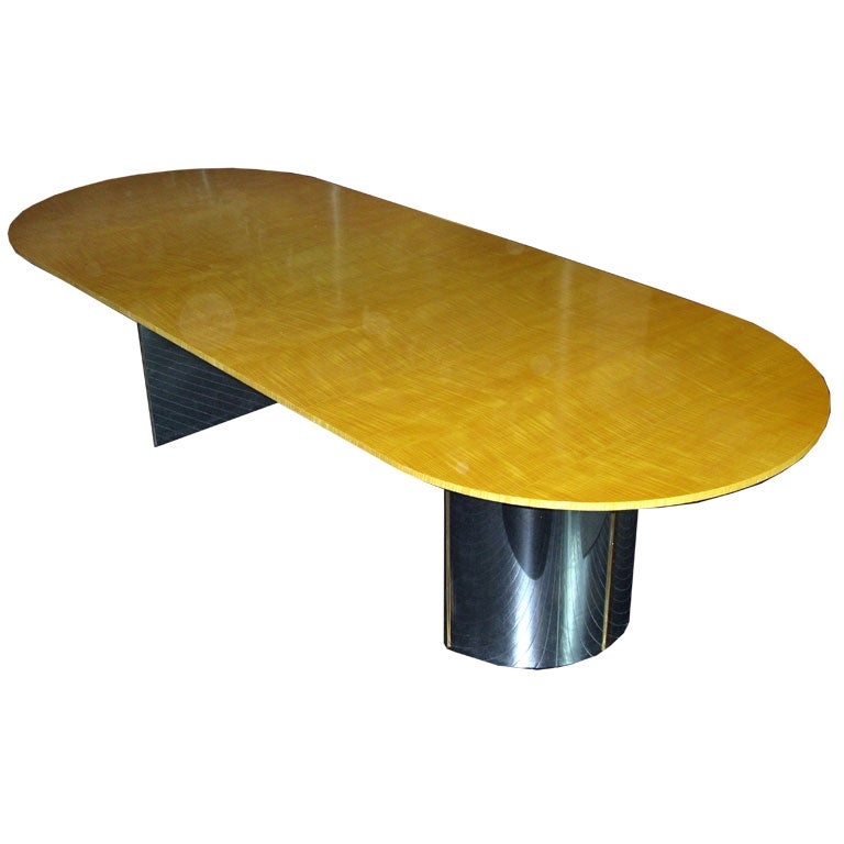 Large Knife Edge Dining Table In Avodire By Karl Springer