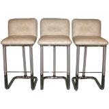 Set of 3 Swiveling Bar Stools in Lucite with Chrome Accents