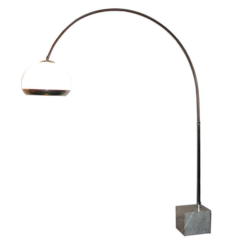arc floor lamp with illuminating shade by guzzini at 1stdibs. Black Bedroom Furniture Sets. Home Design Ideas