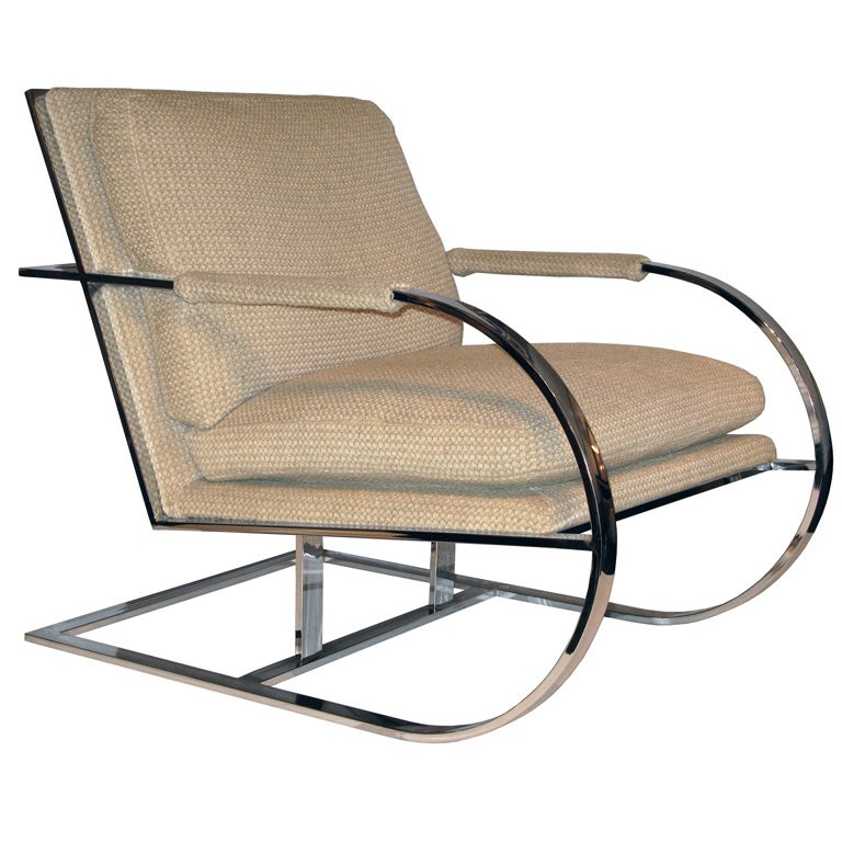 Cantilevered Lounge Chair attributed to Milo Baughman at 1stdibs
