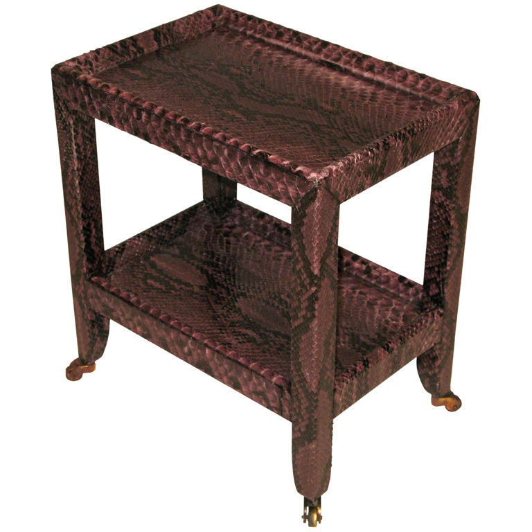 Telephone table in aubergine python by karl springer at for Table in python