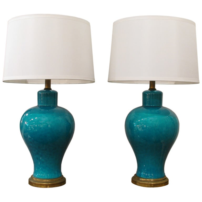 pair of turquoise ceramic table lamps with crackle glaze