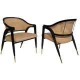 Pair of Lounge Chairs with Caned Backs by Edward Wormley
