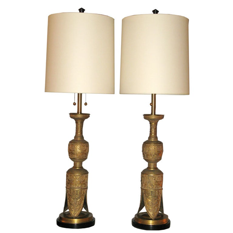 Pair of large brass egyptian style table lamps for sale at 1stdibs pair of large brass egyptian style table lamps for sale aloadofball Gallery