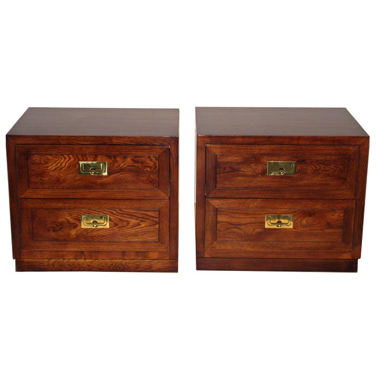 Pair Of Campaign Style Bedside Tables By Henredon At 1stdibs