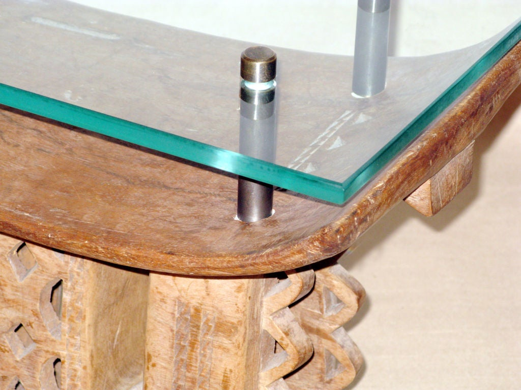 African Table With Custom Floating Glass Top By Karl Springer Image 2