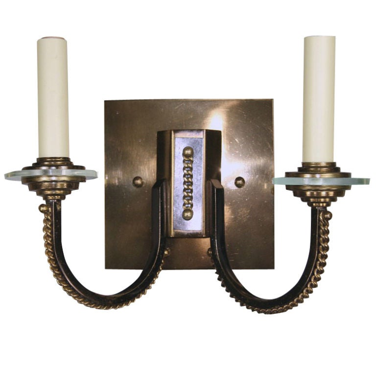 Pair French Double Arm Moderne Sconce at 1stdibs