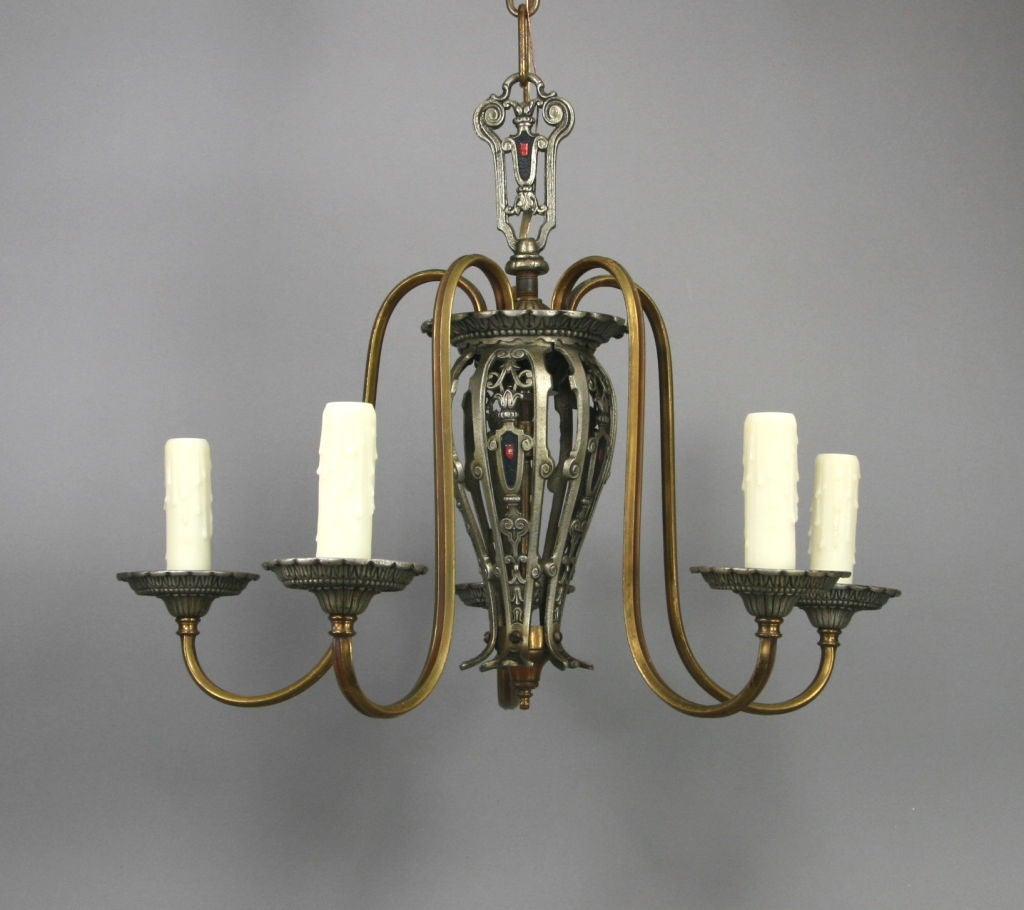 #1-2309, a five-arm intricately detailed chandelier in its original age-darkened brass and silver plated finish.
