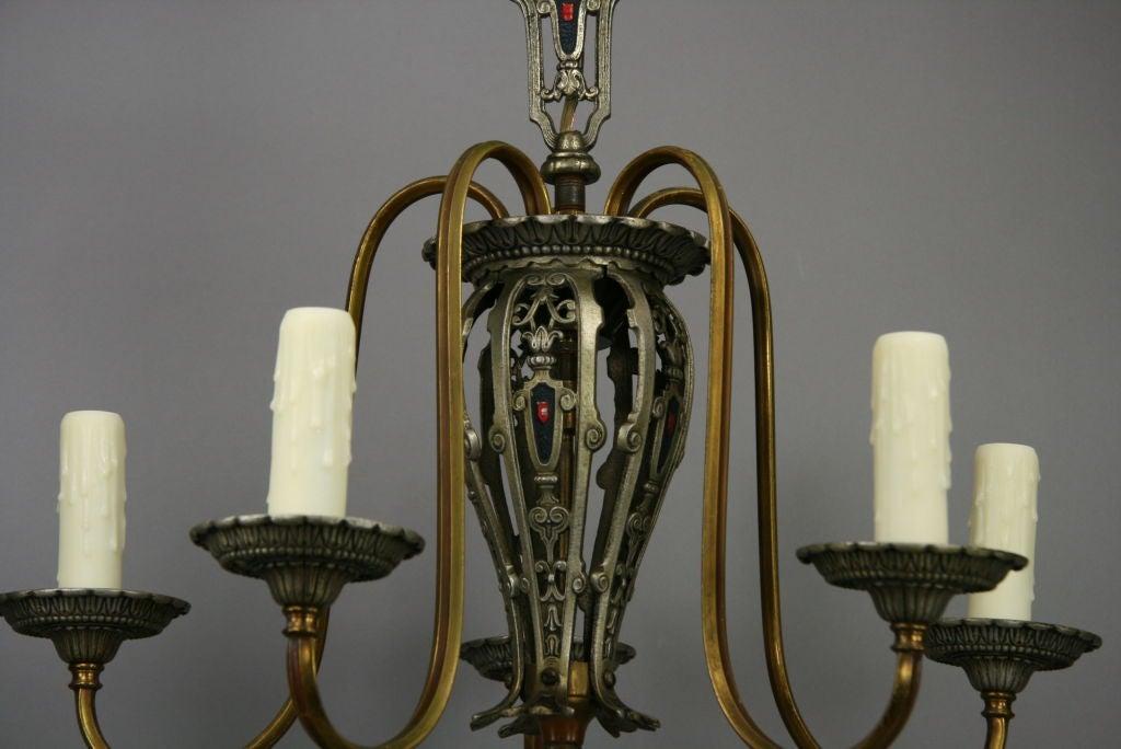 Brass Five-Arm Tudor Style Chandelier For Sale
