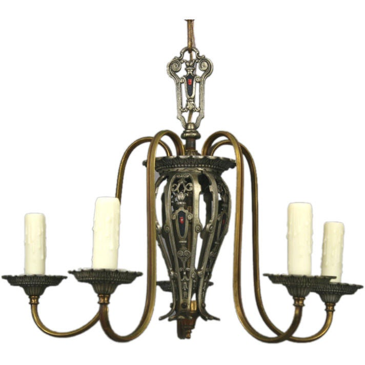 Five-Arm Tudor Style Chandelier For Sale