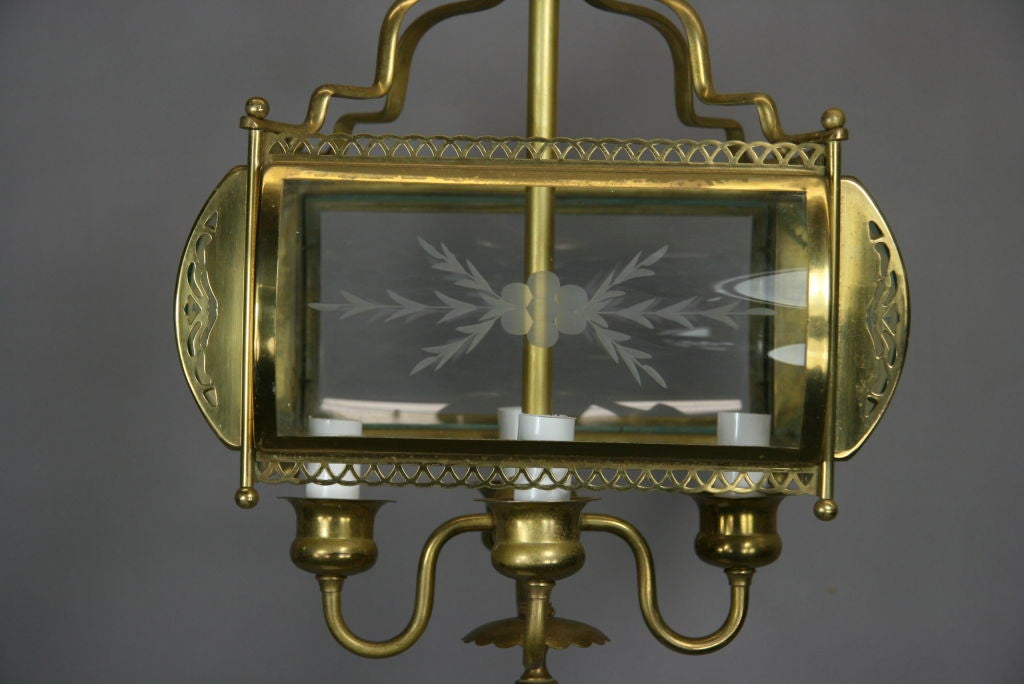 Mid-20th Century Four-Light Etched Bent Glass Brass Lantern For Sale