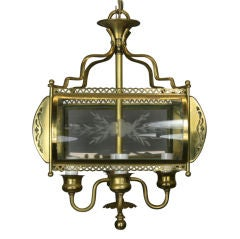 Four-Light Etched Bent Glass Brass Lantern