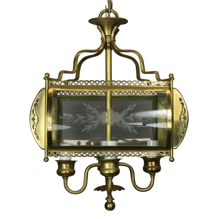 Four-Light Etched Bent Glass Brass Lantern For Sale