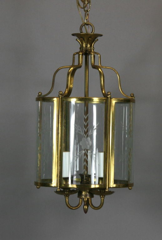 Brass Bent Panel Glass Lantern, circa 1930s In Good Condition For Sale In Douglas Manor, NY