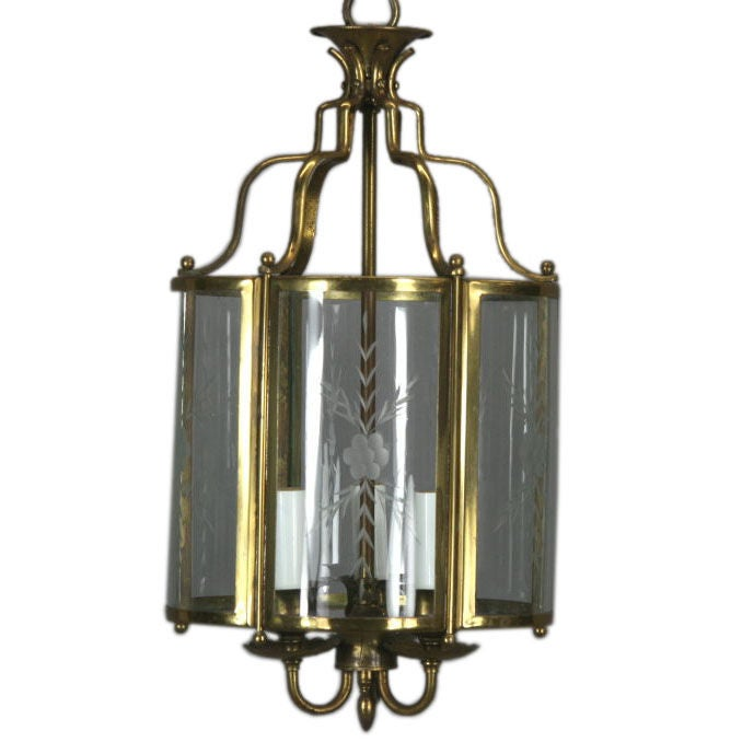Brass Bent Panel Glass Lantern, circa 1930s For Sale