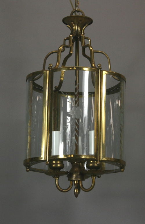 Mid-20th Century Brass Bent Panel Glass Lantern, circa 1930s For Sale