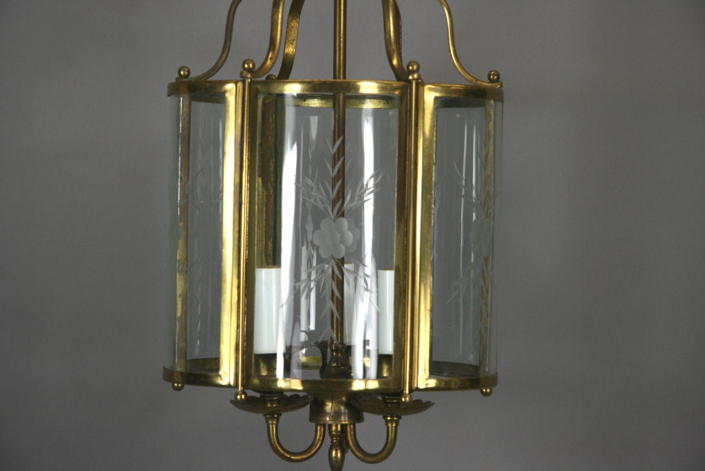 Brass Bent Panel Glass Lantern, circa 1930s For Sale 1