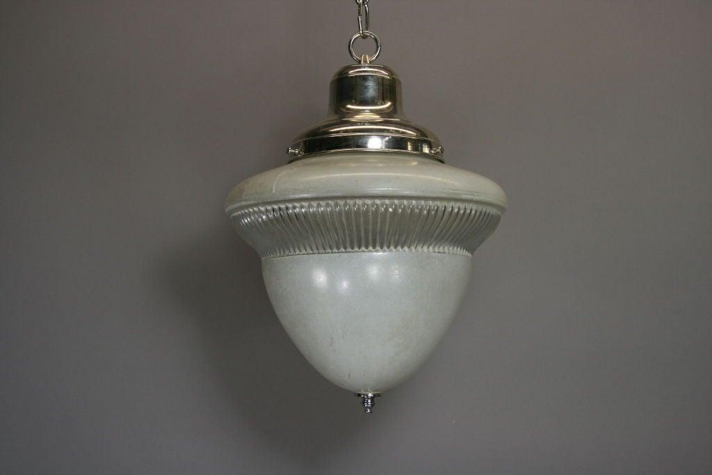Acorn Glass Pendant, circa 1920s In Good Condition For Sale In Douglas Manor, NY