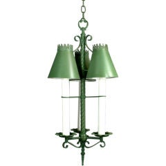 Green Tole Three Light  Fixture  (2 available)