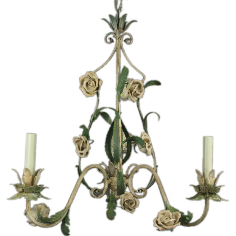 ON SALE  Italian Tole Chandelier with Porclain Flowers