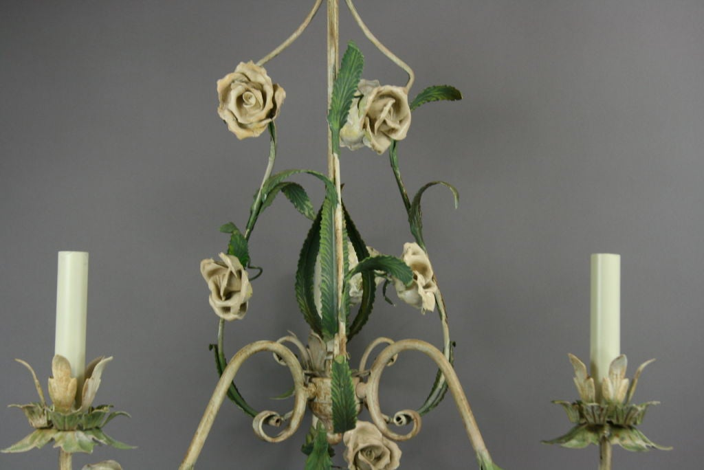 Mid-20th Century ON SALE  Italian Tole Chandelier with Porclain Flowers For Sale