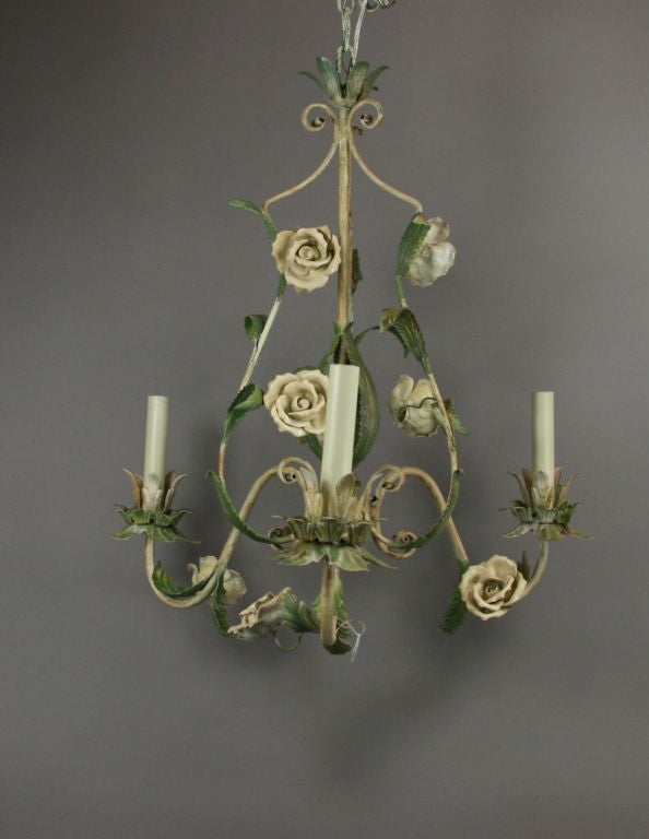Metal ON SALE  Italian Tole Chandelier with Porclain Flowers For Sale