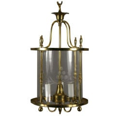 Polished Brass Cylindrical Lantern