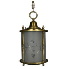 Cylindrical Frosted Wheel Cut-Glass Lantern