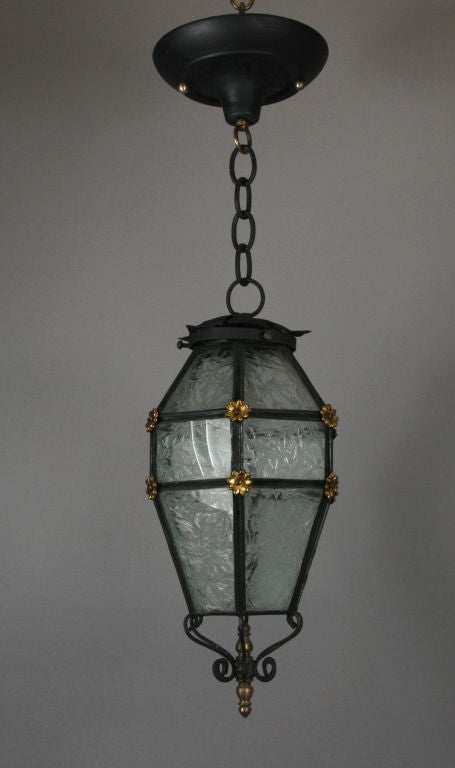 ON SALE Blackened Etched Glass Italian Lantern For Sale 1