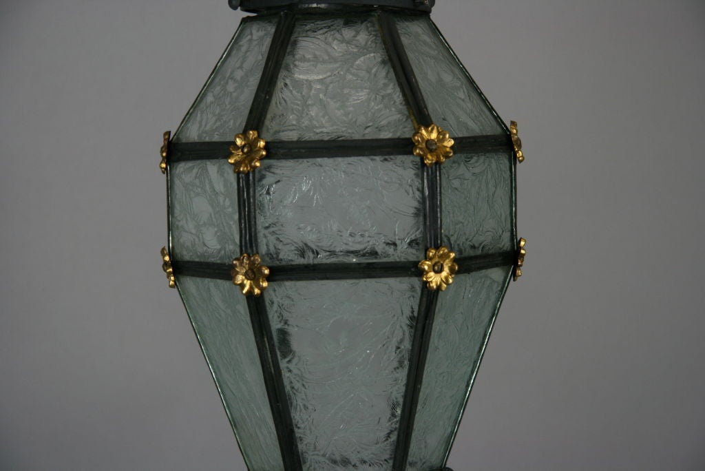 ON SALE Blackened Etched Glass Italian Lantern In Good Condition For Sale In Douglas Manor, NY