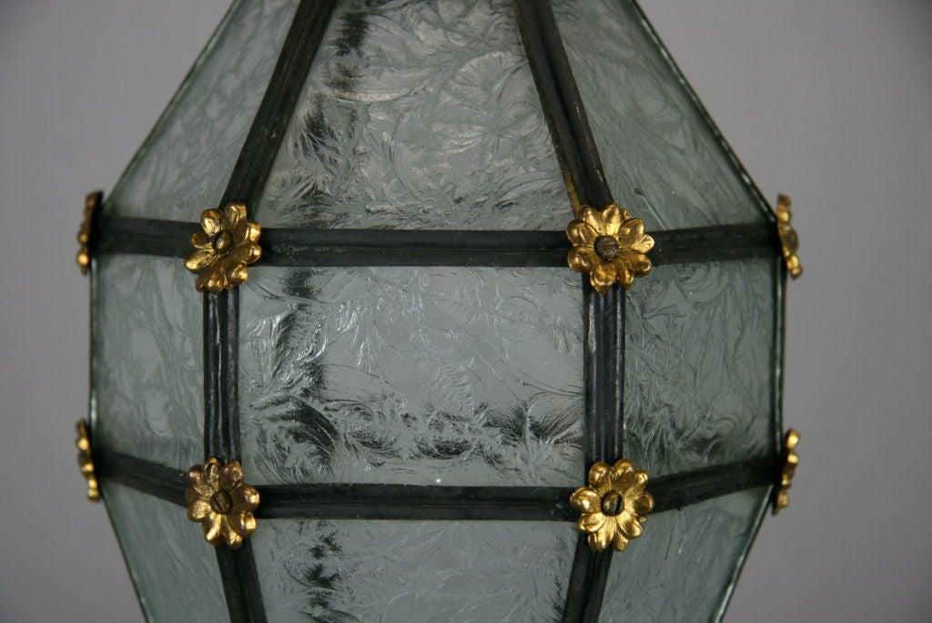 Mid-20th Century ON SALE Blackened Etched Glass Italian Lantern For Sale