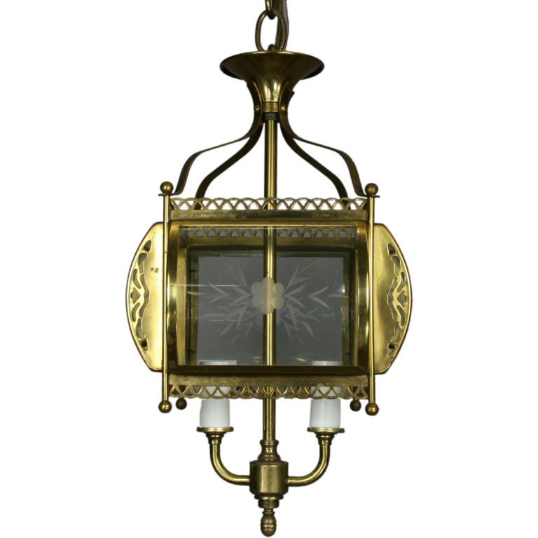 ON SALE  Bent Glass Filigree Brass Lantern(3 available)