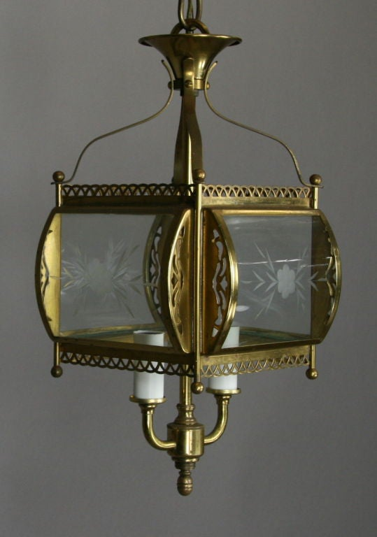 ON SALE  Bent Glass Filigree Brass Lantern(3 available) In Good Condition For Sale In Douglas Manor, NY