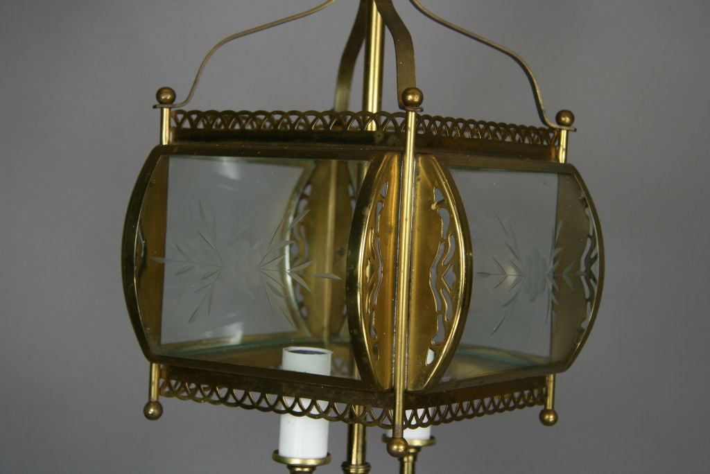 Mid-20th Century ON SALE  Bent Glass Filigree Brass Lantern(3 available) For Sale