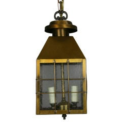 Pebbled Glass Brass Lantern (2 available)