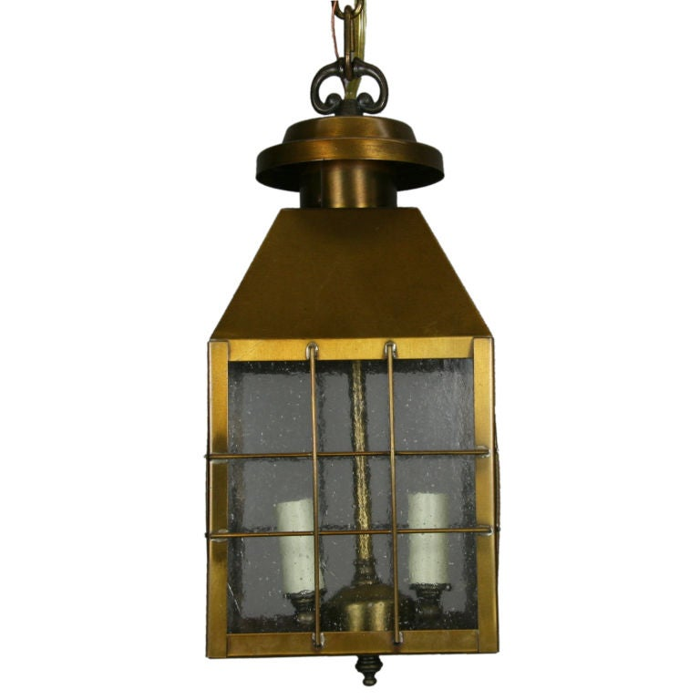 Pebbled Glass Brass Lantern (2 available) For Sale