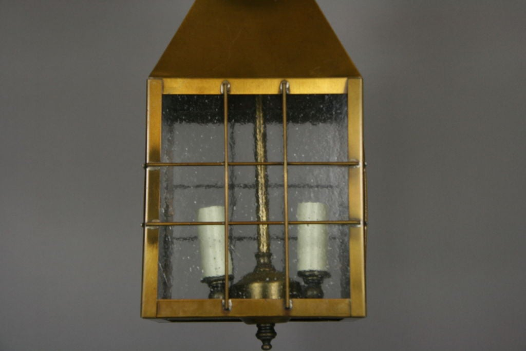 Mid-20th Century Pebbled Glass Brass Lantern (2 available) For Sale