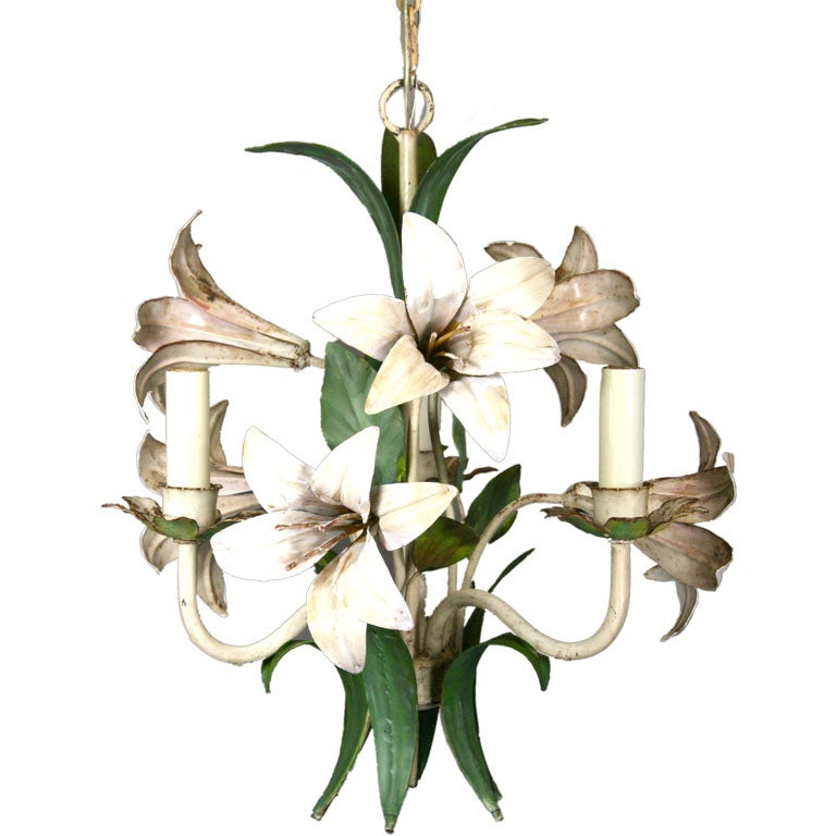Hand painted three light Italian tole chandelier.