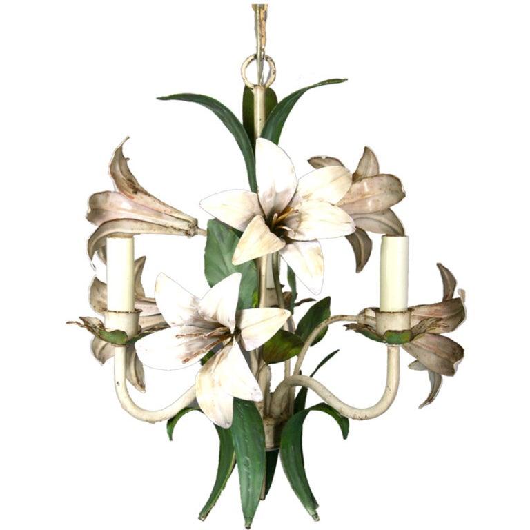Italian Lilies Tole Chandelier 1